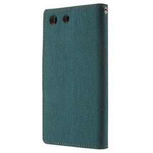 Canvas PU kožené / textilní pouzdro na Sony Xperia M5 - zelenomodré - 2