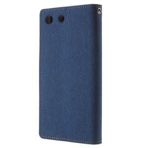 Canvas PU kožené / textilní pouzdro na Sony Xperia M5 - modré - 2