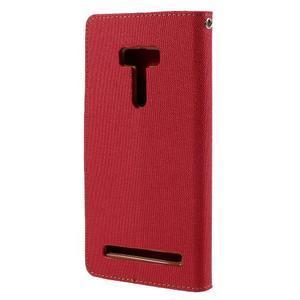 Canvas PU kožené/textilní puzdro na Asus Zenfone Selfie ZD551KL - červené - 2