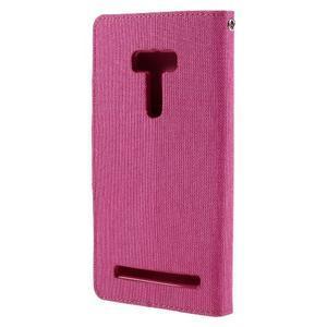 Canvas PU kožené/textilné puzdro pre Asus Zenfone Selfie ZD551KL - rose - 2