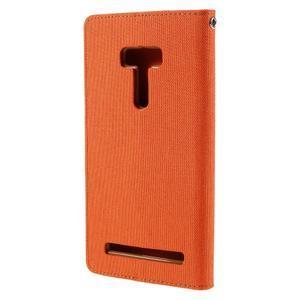 Canvas PU kožené/textilní puzdro na Asus Zenfone Selfie ZD551KL - oranžové - 2