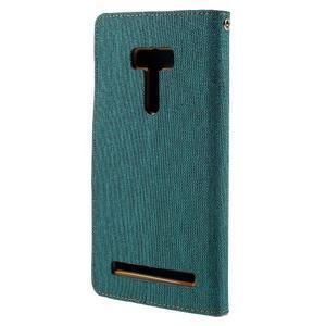 Canvas PU kožené/textilní puzdro na Asus Zenfone Selfie ZD551KL - zelenomodré - 2