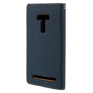 Canvas PU kožené/textilné puzdro pre Asus Zenfone Selfie ZD551KL - tmavo modré - 2