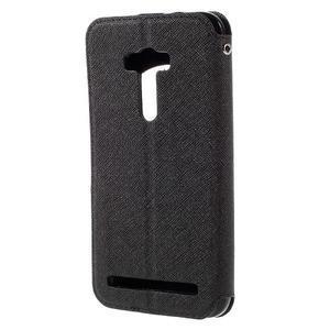 Peňaženkové puzdro s okienkom pre Asus Zenfone Selfie ZD551KL - čierné - 2