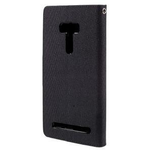 Canvas PU kožené/textilní puzdro na Asus Zenfone Selfie ZD551KL - čierné - 2