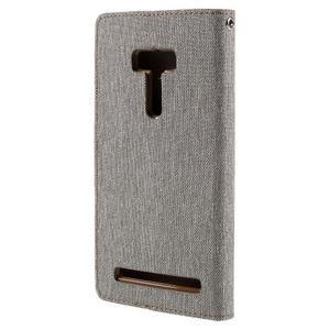 Canvas PU kožené/textilné puzdro pre Asus Zenfone Selfie ZD551KL - šedé - 2