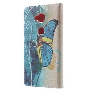 Emotive PU kožené pouzdro na mobil Honor 5X - motýl - 2