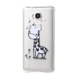 Transparentný gélový obal pre Honor 5X - žirafka - 2