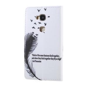 Knížkové pouzdro na mobil Honor 5X - ptačí peříčko - 2
