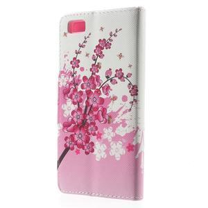 Peňaženkové PU kožené puzdro na Huawei Ascend P8 Lite - kvitnúca vetvička - 2