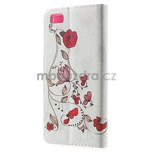 Peněženkové PU kožené pouzdro na Huawei Ascend P8 Lite - červené květy - 2