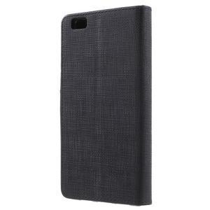 Clothy PU kožené pouzdro na mobil Huawei P8 Lite - černé - 2
