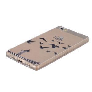Průhledný gelový obal na Huawei P8 Lite - ptáčci - 2