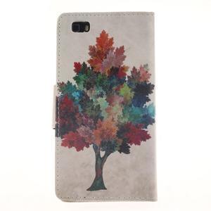 Leathy PU kožené pouzdro na Huawei P8 Lite - barevný strom - 2