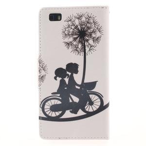Leathy PU kožené puzdro na Huawei P8 Lite - láska na bicykli - 2