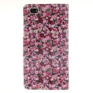 Leathy PU kožené puzdro na Huawei P8 Lite - ruže - 2
