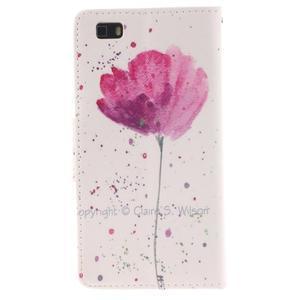 Leathy PU kožené puzdro na Huawei P8 Lite - makový kvet - 2