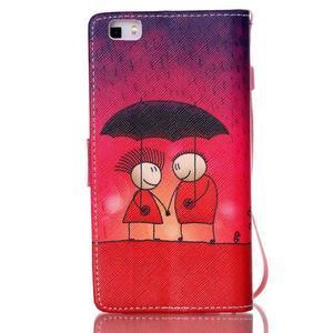 Picture PU kožené pouzdro na Huawei P8 Lite - láska v dešti - 2