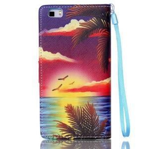 Picture PU kožené puzdro na Huawei P8 Lite - plážová scenéria - 2