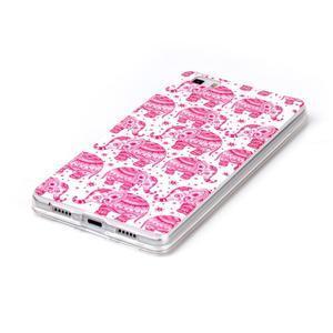 Softy gelový obal na mobil Huawei P8 Lite - růžoví sloni - 2