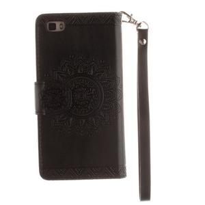Mandala PU kožené puzdro na mobil Huawei P8 Lite - čierne - 2