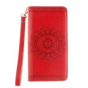 Mandala PU kožené pouzdro na mobil Huawei P8 Lite - červené - 2