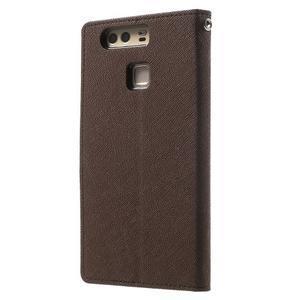 Diary PU kožené pouzdro na mobil Huawei P9 - hnědé - 2