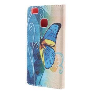 Richi PU kožené puzdro na Huawei P9 Lite - modrý motýľ - 2