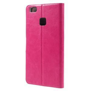 Horse PU kožené puzdro na mobil Huawei P9 Lite - rose - 2