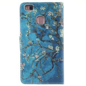 Floaty peňaženkové puzdro na mobil Huawei P9 Lite - kvitnúci strom - 2