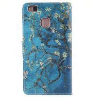 Floaty peňaženkové puzdro na mobil Huawei P9 Lite - kvitnúci strom - 2/7