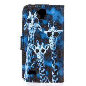 Stylové peněženkové pouzdro na Huawei Y5 a Y560 - žirafí mafie - 2