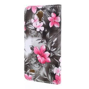 Květinové pouzdro na Huawei Y5 a Y560 - černé pozadí - 2