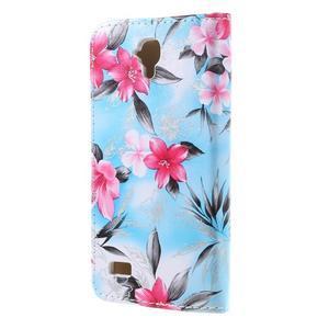 Květinové pouzdro na Huawei Y5 a Y560 - modré pozadí - 2