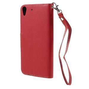Leaf PU kožené pouzdro na mobil Huawei Y6 - červené - 2