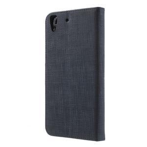 Clothy PU kožené pouzdro na Huawei Y6 - tmavěmodré - 2
