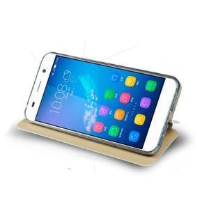 Vintage PU kožené pouzdro na mobil Huawei Y6 - zlaté - 2