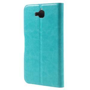 Horse PU kožené peňažekové puzdro na Huawei Y6 Pro - modré - 2