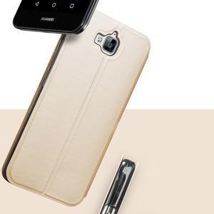 Vintage PU kožené pouzdro na mobil Huawei Y6 Pro - zlaté - 2