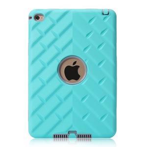 Vysoce odolný silikonový obal na tablet iPad mini 4 - cyan/šedý - 2