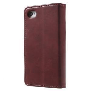 Moon PU kožené puzdro pre mobil iPhone 4 - vínové - 2