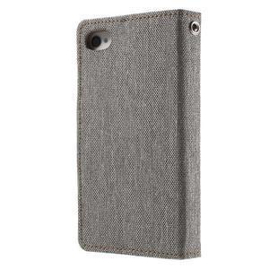 Canvas PU kožené/textilné puzdro pre iPhone 4 - sivé - 2