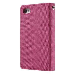 Canvas PU kožené/textilné puzdro pre iPhone 4 - rose - 2