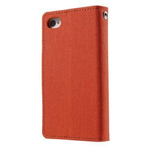 Canvas PU kožené/textilné puzdro pre iPhone 4 - oranžové - 2