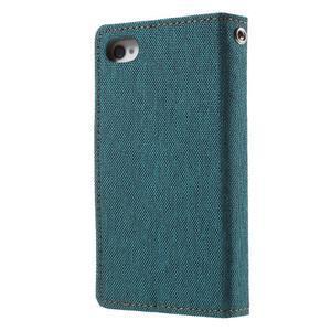 Canvas PU kožené/textilní pouzdro na iPhone 4 - zelenomodré - 2