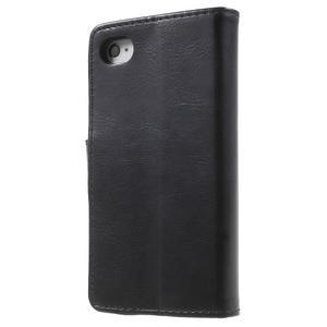 Moon PU kožené pouzdro na mobil iPhone 4 - černé - 2
