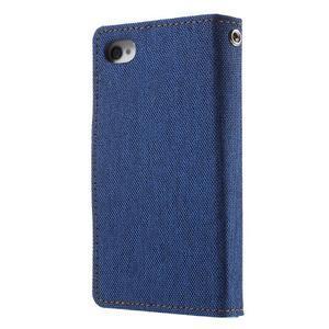 Canvas PU kožené/textilné puzdro pre iPhone 4 - modré - 2