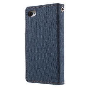 Canvas PU kožené/textilné puzdro pre iPhone 4 - tmavomodré - 2