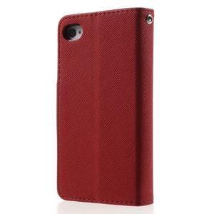 Fancys PU kožené pouzdro na iPhone 4 - červené - 2