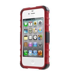 Outdoor odolný obal pre mobil iPhone 4 - červený - 2